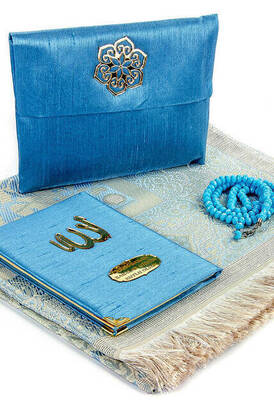 İhvan - Father's Day Special Name Printed Fabric Coated Yasin Book Seccadeli Rosary Marsupian Set - Blue Color