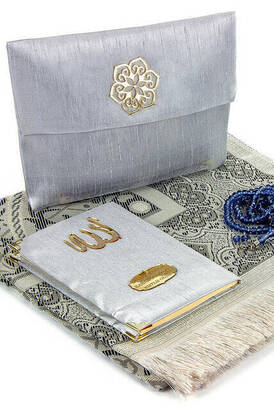 İhvan - Father's Day Special Name Printed Fabric Coated Yasin Book Seccadeli Rosary Marsupian Set - Gray Color