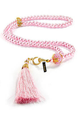 İhvan - Gift Rosary - Vavli - Tughra - 99 pcs - Pearl Look - Pink Color - Mevlid Gift