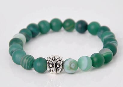 İhvan - Green Vein Matte Akik Stone Bracelet