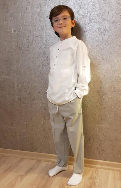 Gri Çocuk Şalvar Pantolon - Hac Umre Kıyafeti