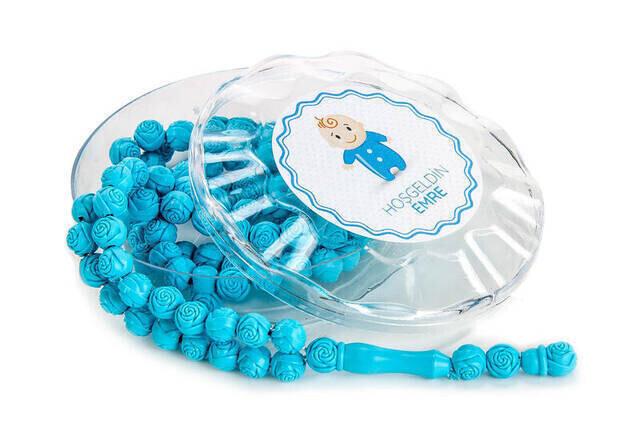 Gül Kokulu Tesbih - Erkek Çocuğuna Özel - İsim Baskılı - Mavi / Beyaz Renk - Bebek Mevlidi Hediyeliği