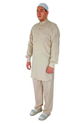İhvan - Hac ve Umre Kıyafeti - Afgan Takımı - Krem - 2416