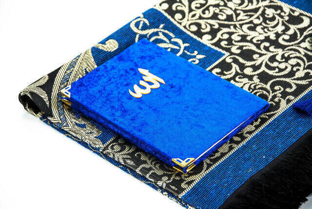 Hac Umre Mevlid Set 19 - Velvet Covered Yasin - Seccade - Rosary - Boxed