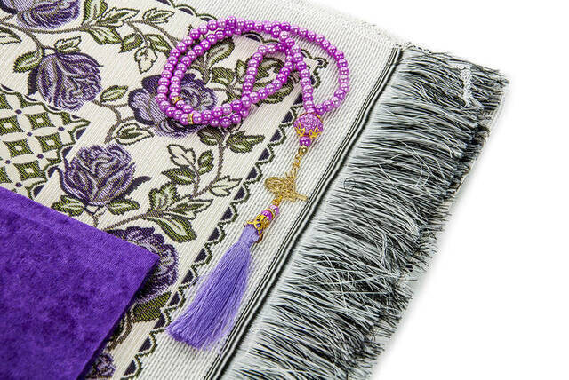 Hac Umre Mevlid Set 20 - Velvet Covered Yasin - Seccade - Rosary - Boxed