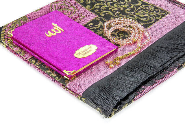 Hac Umre Mevlid Set 22 - Name Printed Velvet Coated Yasin - Seccade - Rosary - Boxed