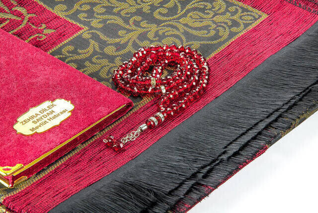 Hac Umre Mevlid Set 23 - Name Printed Velvet Coated Yasin - Seccade - Rosary - Boxed
