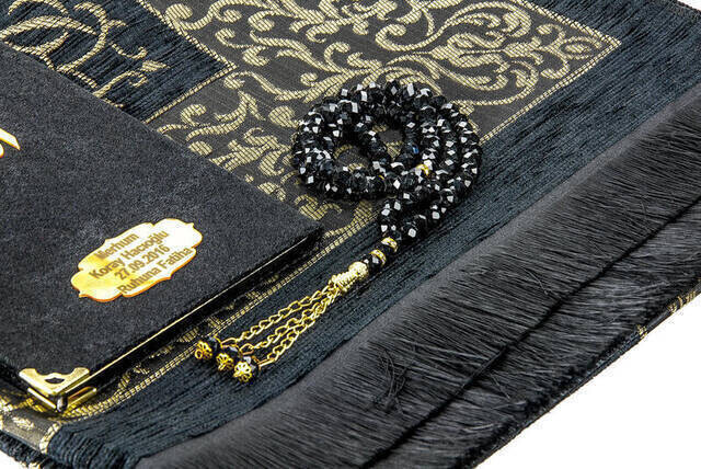 Hac Umre Mevlid Set 24 - Name Printed Velvet Coated Yasin - Seccade - Rosary - Boxed