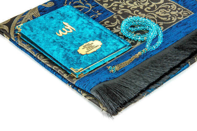 Hac Umre Mevlid Set 25 - Name Printed Velvet Coated Yasin - Seccade - Rosary - Boxed