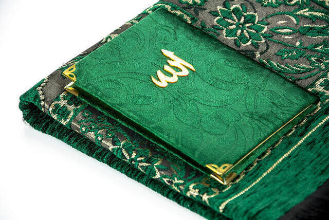 Hac Umre Mevlid Set 31 - Velvet Covered Yasin - Seccade - Rosary - Boxed