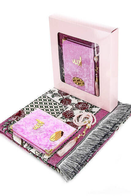 Hac Umre Mevlid Set 35 - Name Printed Velvet Coated Yasin - Seccade - Rosary - Boxed