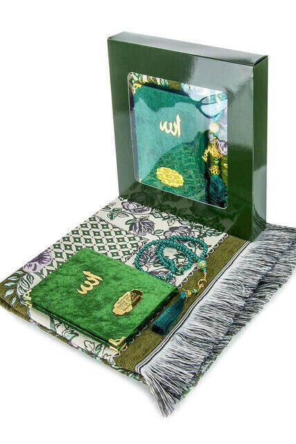 Hac Umre Mevlid Set 36 - Name Printed Velvet Coated Yasin - Seccade - Rosary - Boxed