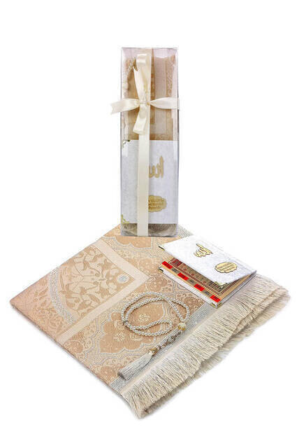 Hac Umre Mevlid Set 39 - Name Printed Velvet Coated Yasin - Seccade - Rosary - Boxed