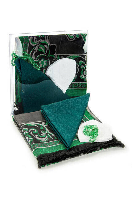 Hac Umre Mevlid Set 4 - Seccade - Cover - Takke - Rosary - Boxed