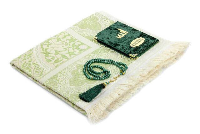 Hac Umre Mevlid Set 42 - Name Printed Velvet Coated Yasin - Seccade - Rosary - Boxed