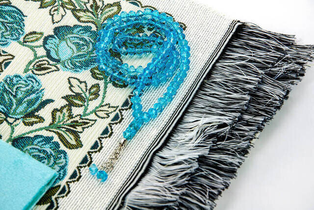 Hac Umre Mevlid Set 7 - Velvet Covered Yasin - Seccade - Rosary - Boxed