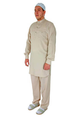İhvan - Hajj and Umrah Outfit - Afghan Suit - Cream - 2416