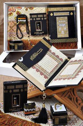 İhvan - Hajj Umrah Mevlid Set 50 - The Holy Quran - Prayer Rug - Essence - Rosary - Hicaz Album - Date - Boxed