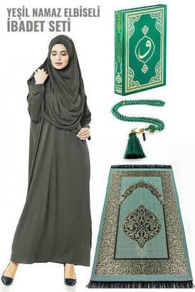 İhvan - Haki Yeşil Namaz Elbiseli İbadet Seti
