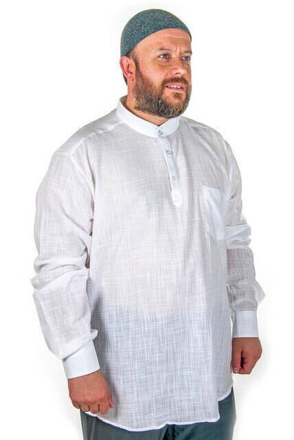 Hakim Yaka 3 Düğmeli Keten Beyaz Gömlek