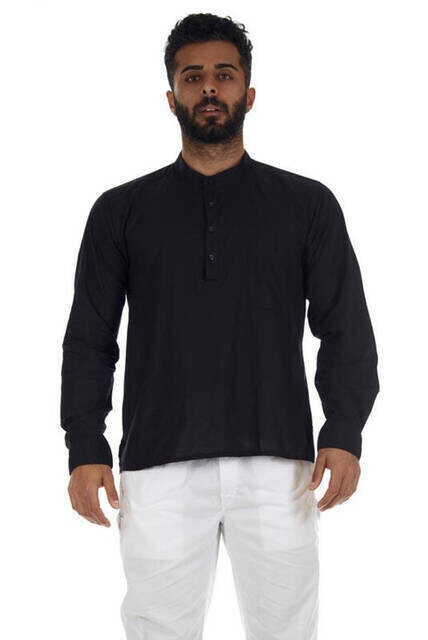 Hakim Yaka 4 Düğmeli Vual Kumaş Hac Umre Yazlık Gömlek Siyah