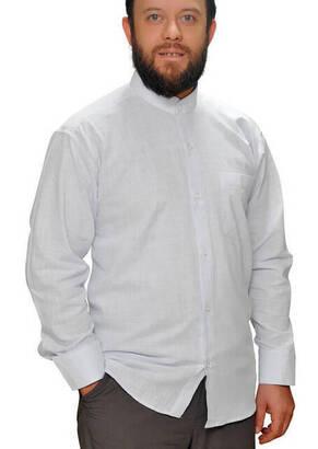 İhvan - Hakim Yaka Keten Beyaz Gömlek -1153