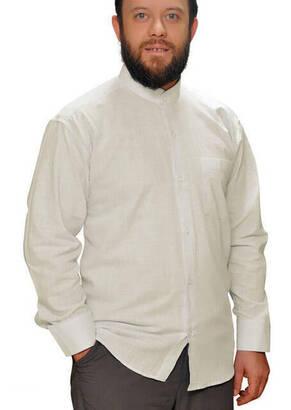 İhvan - Hakim Yaka Keten Krem Gömlek -1152
