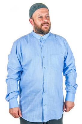 İhvan - Hakim Yaka Keten Mavi Gömlek