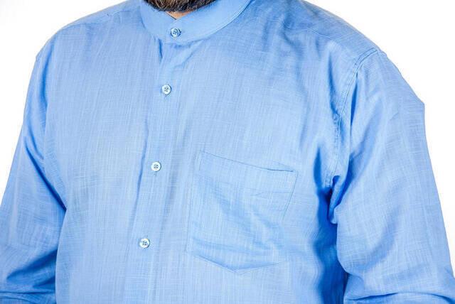 Hakim Yaka Keten Mavi Gömlek