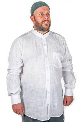 Hakim Yaka Manşetli Keten Beyaz Gömlek