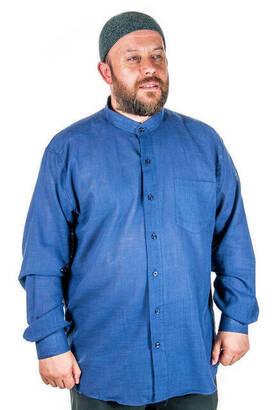 İhvan - Hakim Yaka Manşetli Keten Lacivert Gömlek