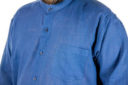 Hakim Yaka Manşetli Keten Lacivert Gömlek