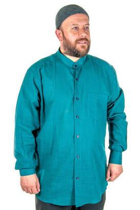 İhvan - Hakim Yaka Manşetli Keten Yeşil Gömlek