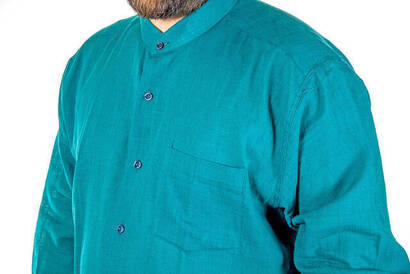 Hakim Yaka Manşetli Keten Yeşil Gömlek
