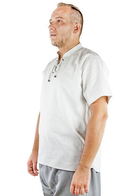 Hakim Yaka Rahat Kesim Kısa Kol Keten Gömlek - Gri