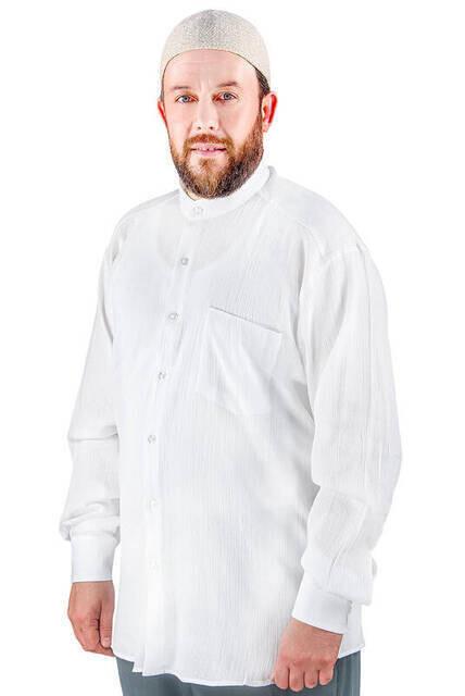 Hakim Yaka Şile Bezi Gömlek Beyaz - 1142