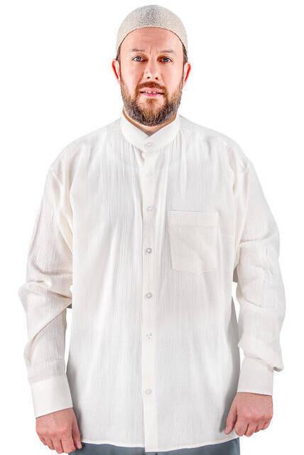 Hakim Yaka Şile Bezi Gömlek Krem - 1143