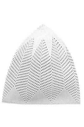 İhvan - Handmade Knitted Cap 12 Pieces - White-8114