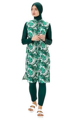 Haşema - Haşema Tropikal-4106 Yeşil Tropikal Desenli Tam Kapalı Tesettür Mayo H-2502-20