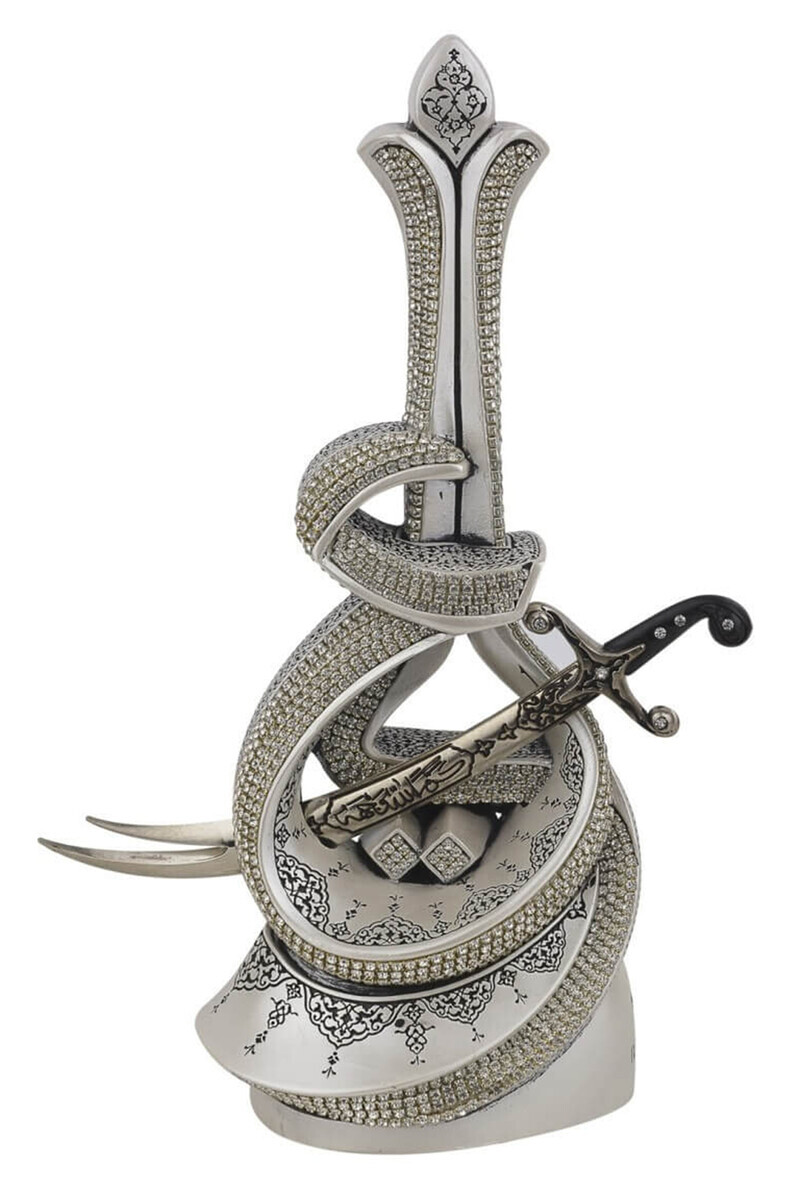 Hz. Ali Yazılı Zülfikar Kılıçlı Kristal Taşlı Dini Hediyelik Biblo Gümüş