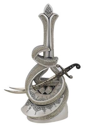 İhvan - Hz. Ali Written Zülfikar Sword Crystal Stone Religious Gift Trinket Silver