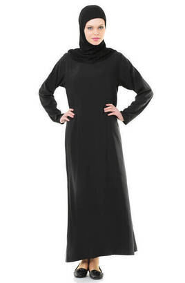 İhvan - İHVAN 5007-1 Siyah Kendinden Örtülü Pratik Namaz Elbisesi