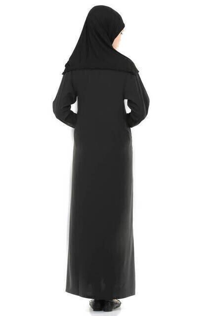 İHVAN 5007-1 Siyah Kendinden Örtülü Pratik Namaz Elbisesi