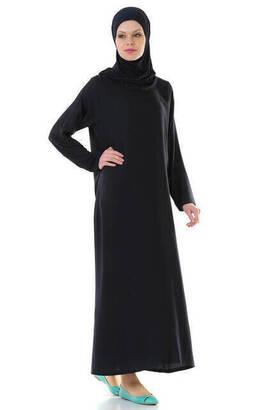 İhvan - İHVAN 5007-2 Pratik Kendinden Örtülü Lacivert Namaz Elbisesi