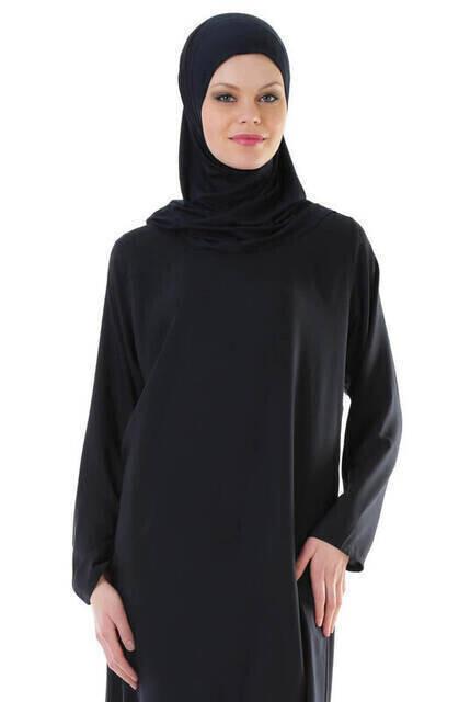 İHVAN 5007-2 Pratik Kendinden Örtülü Lacivert Namaz Elbisesi