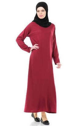 İhvan - İhvan 5007-3 Kendinden Örtülü Bordo Pratik Namaz Elbisesi