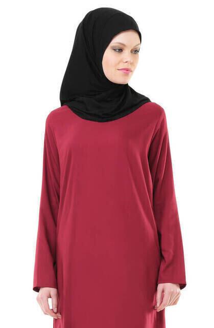 İhvan 5007-3 Kendinden Örtülü Bordo Pratik Namaz Elbisesi