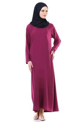 İhvan - İhvan 5007-4 Fuşya Kendinden Örtülü Pratik Namaz Elbisesi