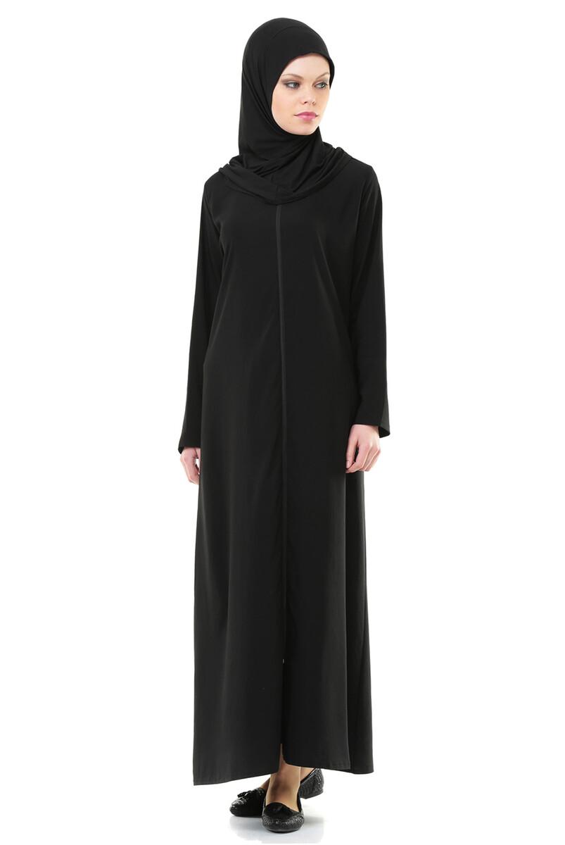 İhvan 5008-1 Siyah Pratik Kendinden Örtülü Namaz Elbisesi