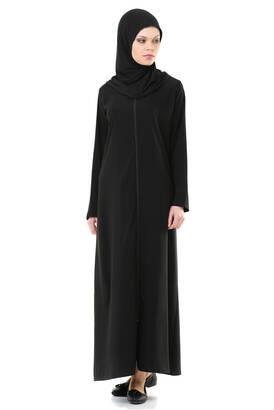 ihvanonline - İhvan 5008-1 Siyah Pratik Kendinden Örtülü Namaz Elbisesi
